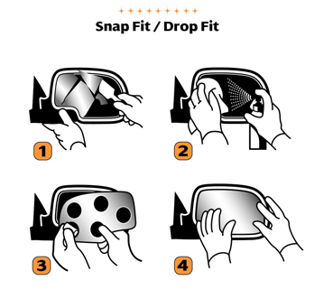 Step by step installation instructions for replacing a broken side mirror with a Burco Redi Cut® replacement auto mirror glass.